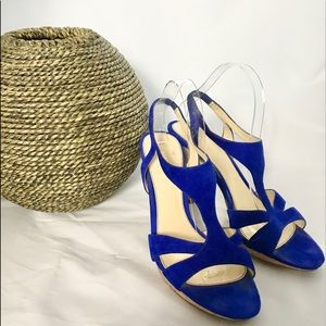 Isola Ibera Ink Blue Suede Leather Heels